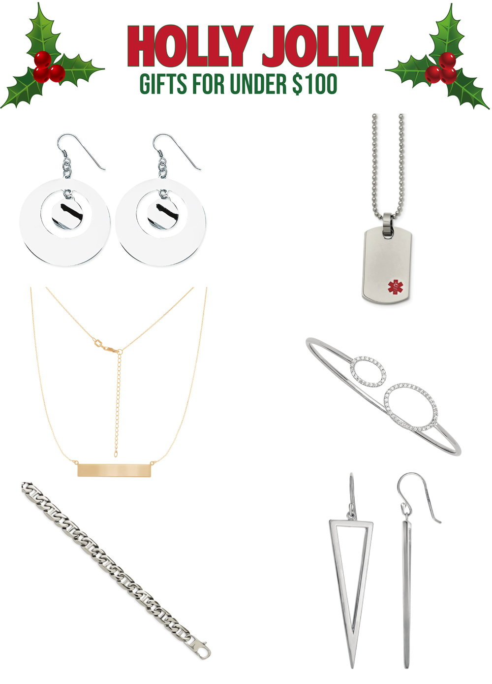 Listed: - 1. Circle Fashion Dangle Shep Hook Earrings2. Small Dog Tag Medical Pendant Necklace3. 18
