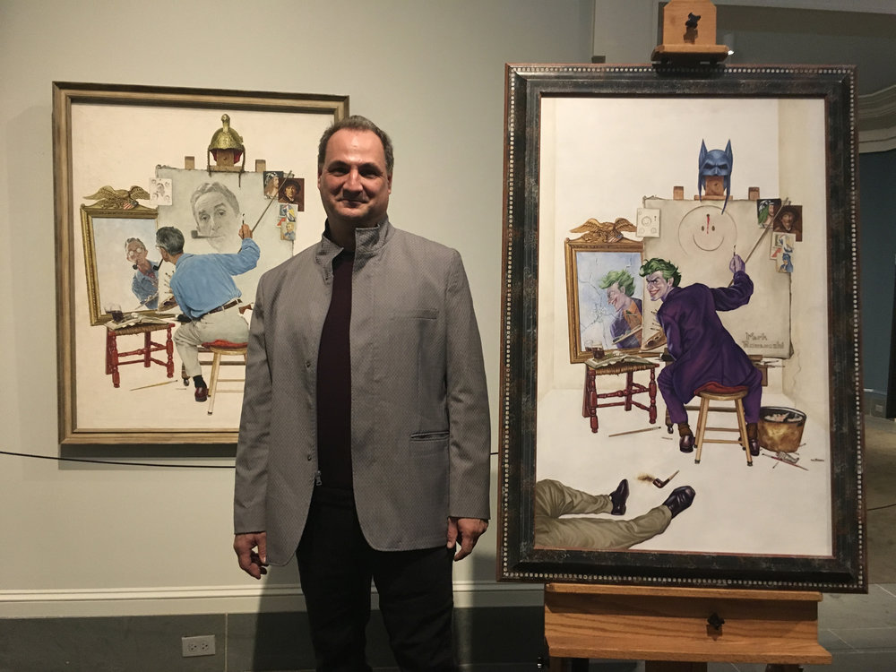 "My   original ""Rockwell's Joke"" next to Norman Rockwell's original 'Triple Self Portrait"""