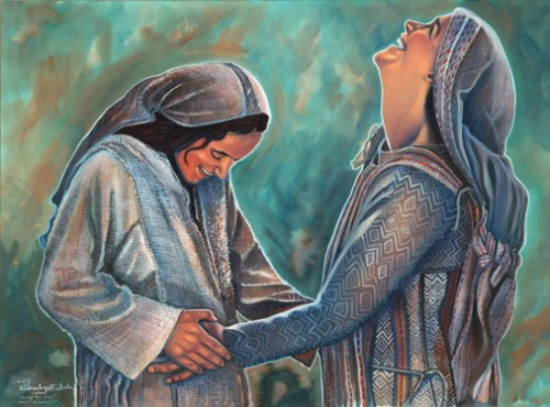 Mary mother of Jesus and Elizabeth Mother of John the Baptist when pregnant