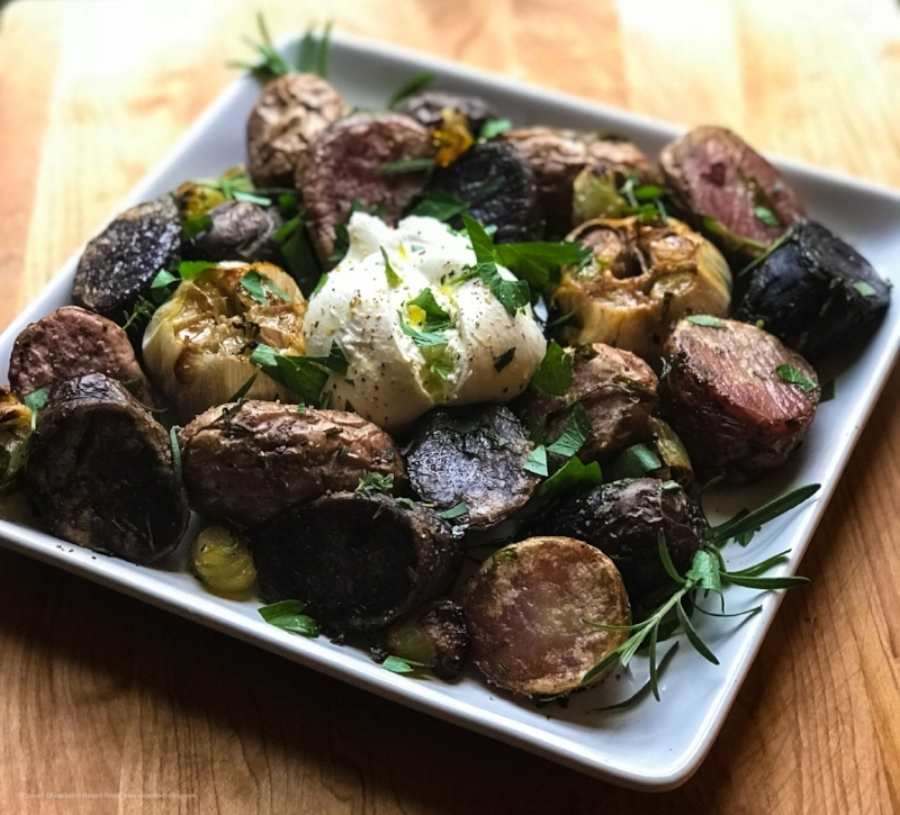 Roasted Potatoes and Garlic with Burrata is savory, roasty, salty, herby and creamy in every bite!