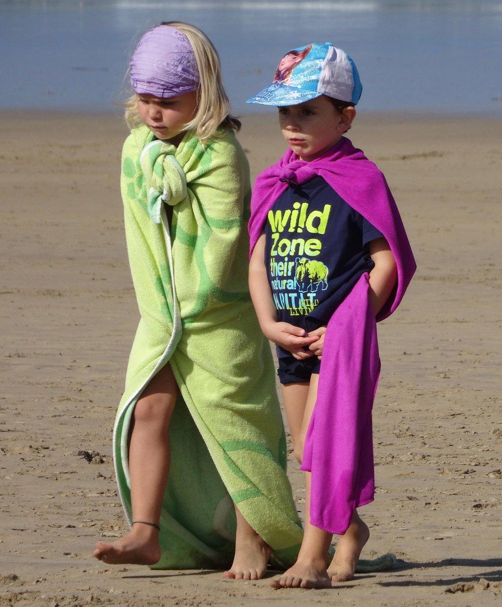 Basque coast | children in beach cloth  daily life scene | Children on the beach | Atlantic ocean |©sandrine cohen