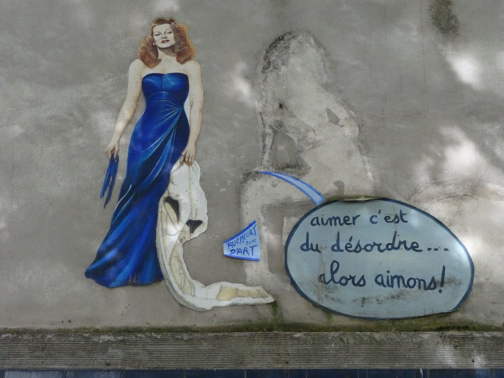Paris |  Ava Gardner in a blue dress | street art collage |  by Rue Meurt d'Art