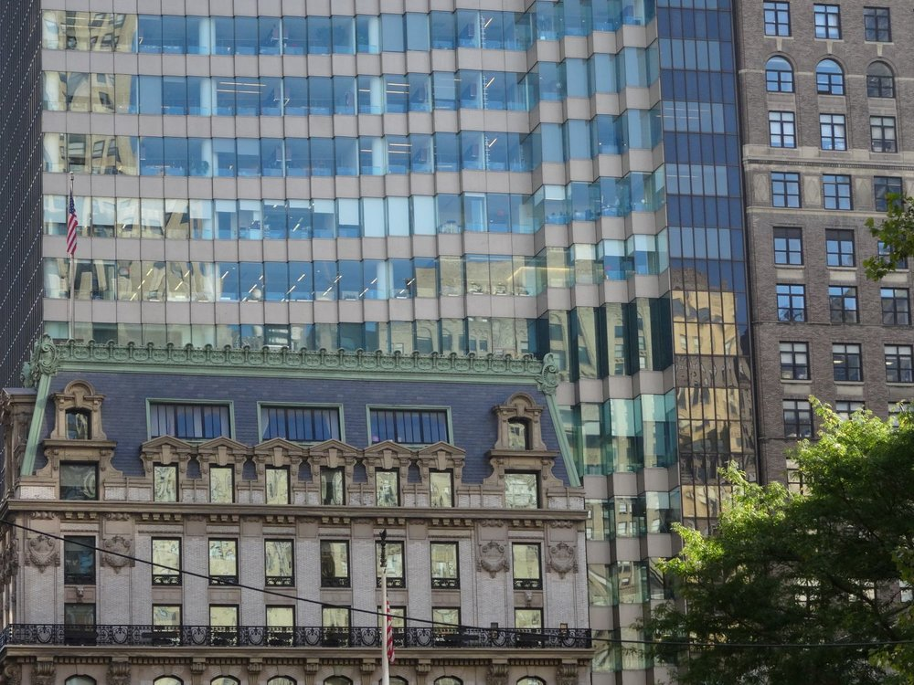 New York | Old and new building near Public Library | Reflection building | photo sandrine cohen