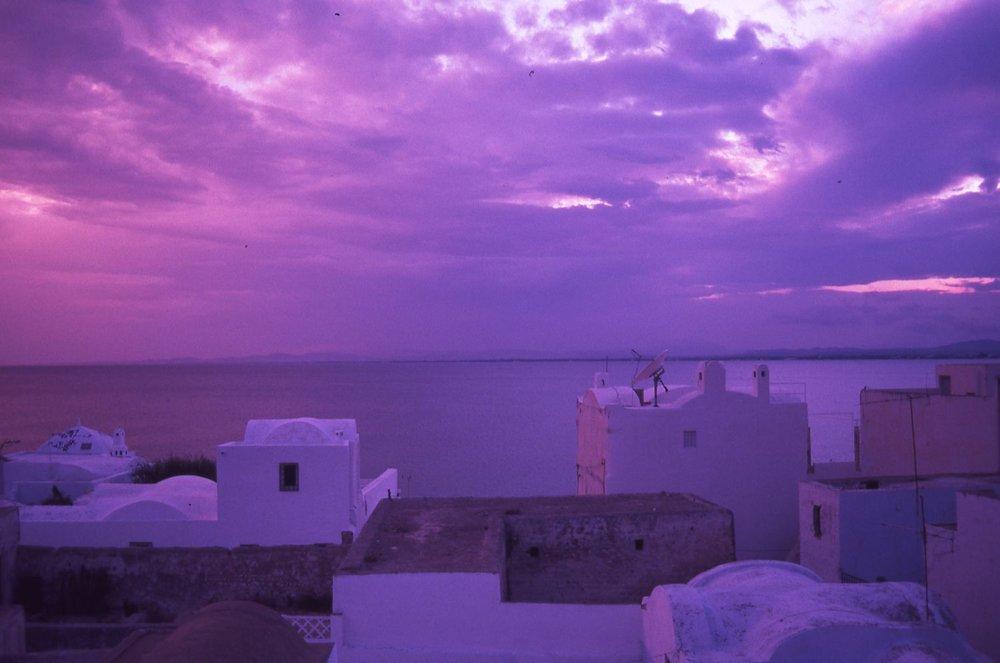 Tunisia | Sunset on the Medina Hammamet | Purple and pink clouds | photo sandrine cohen