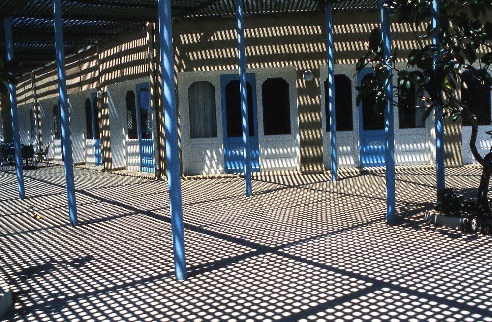 Tunisia | Nabeul | Graphic shadows | Restaurant at noon in june | photo sandrine cohen
