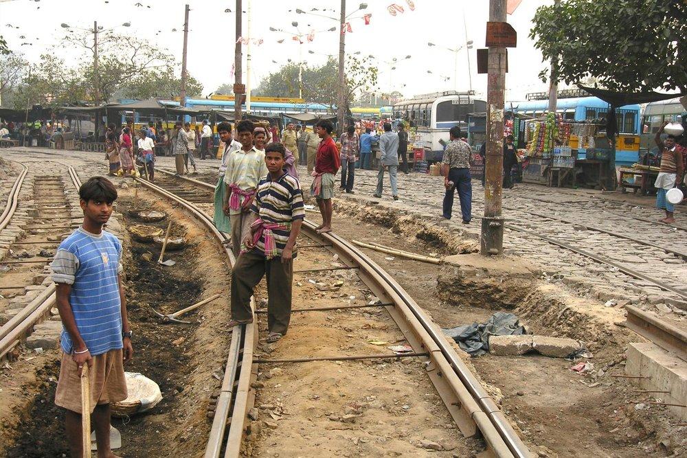 Kolkata - Calcutta   Calcutta tramway   Tramway   construction site   ©sandrine cohen