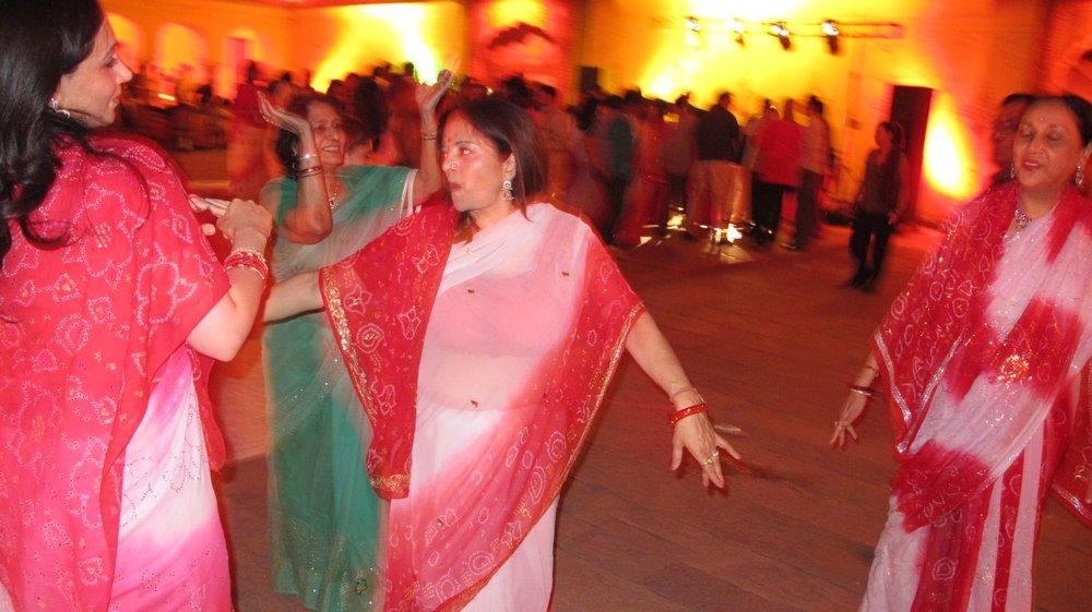 Princess Diya Kumari (at left) | Maharani of Jaipur, Padmini Devi (right) |Dancing | Princess of Udaipur (middle) | City Palace of Jaipur | Private party | ©sandrine cohen
