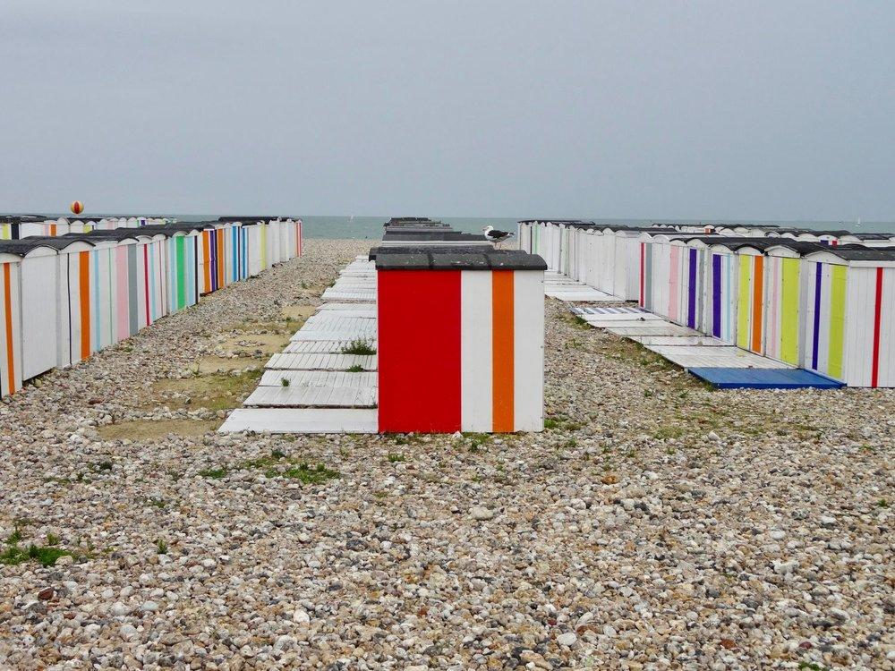 Le Havre |  Cabins on the beach | Karl Martens artist | Un ete au Havre | Les 500 ans du Havre| photo sandrine cohen