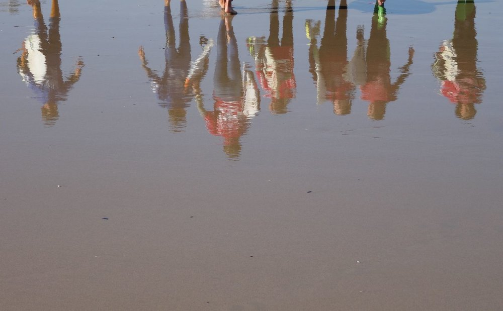 Basque coast | Army of surfeurs | Surfeurs reflection in the water | photo sandrine cohen