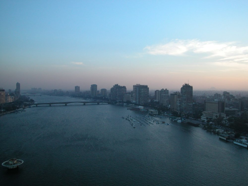 Cairo  Egypt  Sunrise on the Nile  Pyramids  ©sandrine cohen