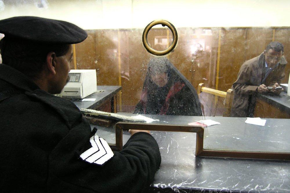 Cairo  Egypt  Ramses railways station   Ramses station counters   Egyptian policeman   ©sandrine cohen