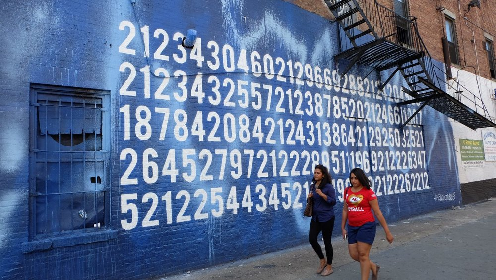 New York | Numbers on blue wall | Houston avenue | photo sandrine cohen