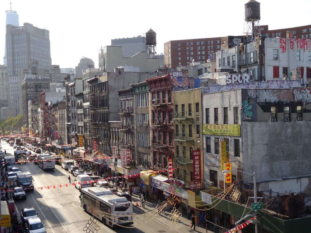 New York | Canal street at Chinatown | Liberty tower | View from bridge | photo sandrine cohen
