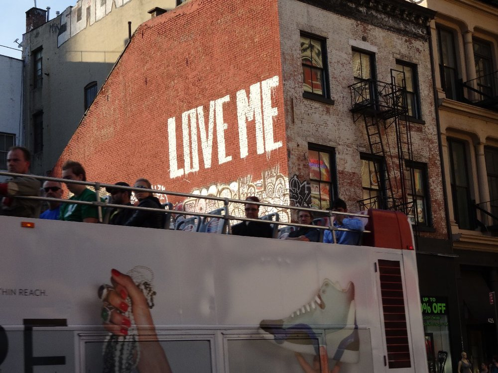 New York | street art love me | Tourists bus on Broadway - Canal street | photo sandrine cohen