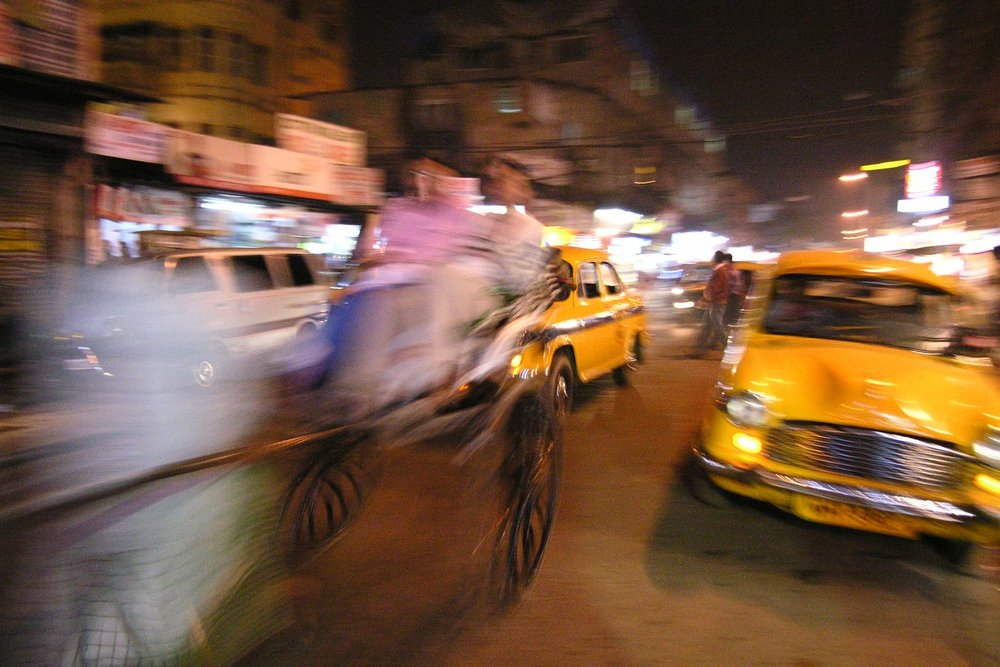 Calcutta - Kolkota | India | Rickshaw in the night | Yellow cab | Streetphotography | ©sandrine cohen