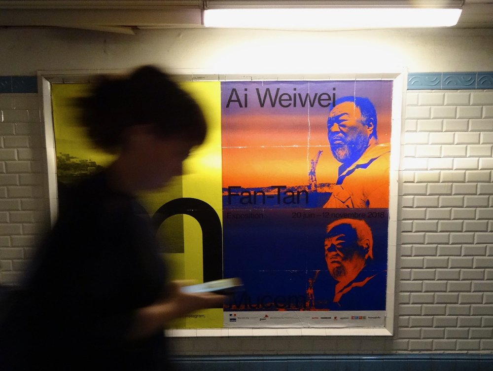 Aie Weiwei poster in the metro | Paris | ratp | Aiw weiwei | photo sandrine cohen