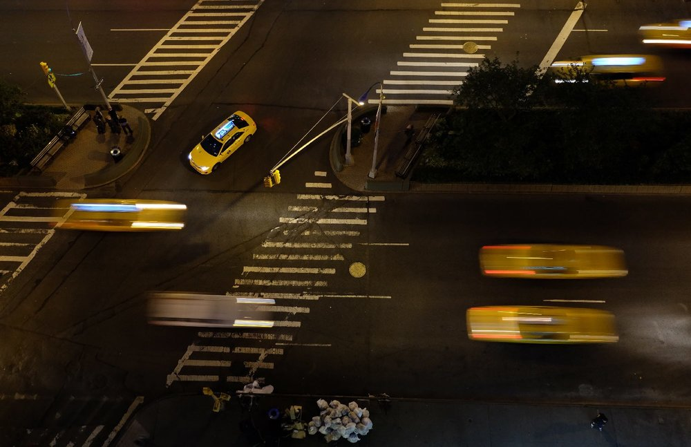 New York | Yellows taxis graphique on Broadway Columbus at night |  Photo sandrine cohen
