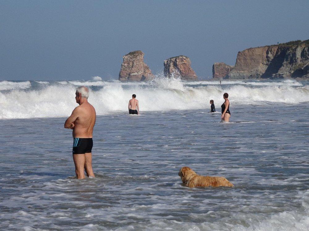 Hendaye Plage | Les deux jumeaux | Côte basque | Basque coast | Man with his dog in the ocean | photo sandrine cohen