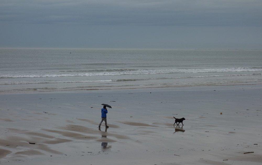 Man with umbrella and dog on the beach | Rain on the beach | photo sandrine cohen