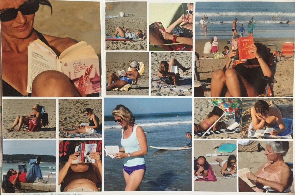 Reading at the beach | mosaique | photo sandrine cohen