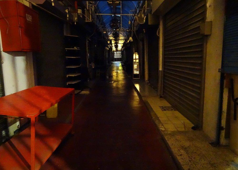 Jaffa | Flea market is closed at night | Red color | photo sandrine cohen