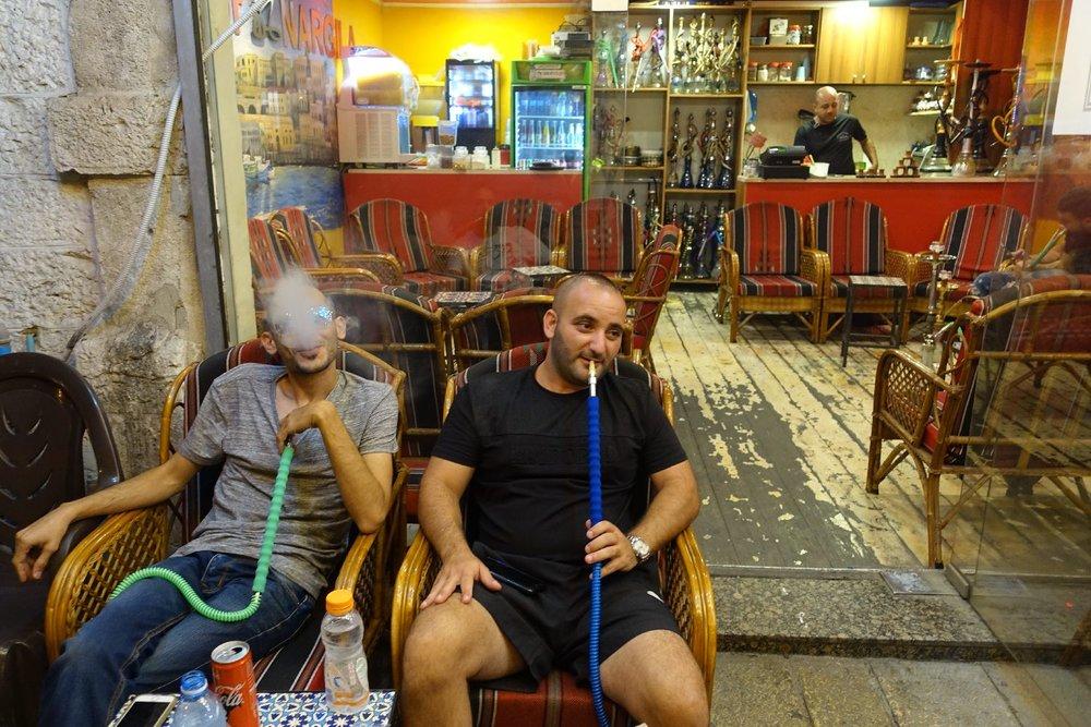 Jaffa | Palestinian men with chicha | Narguile cafe | photo sandrine cohen