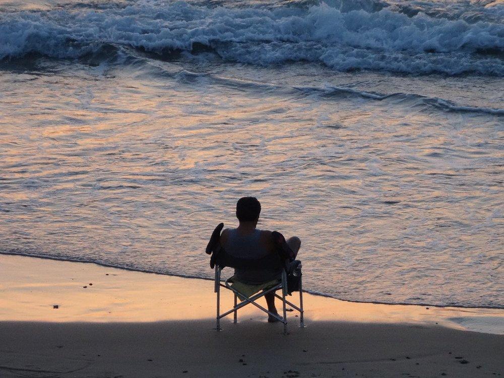 Jaffa |Tel-Aviv | Man alone on the beach when the sunset | Sunset on the beach | photo sandrine cohen