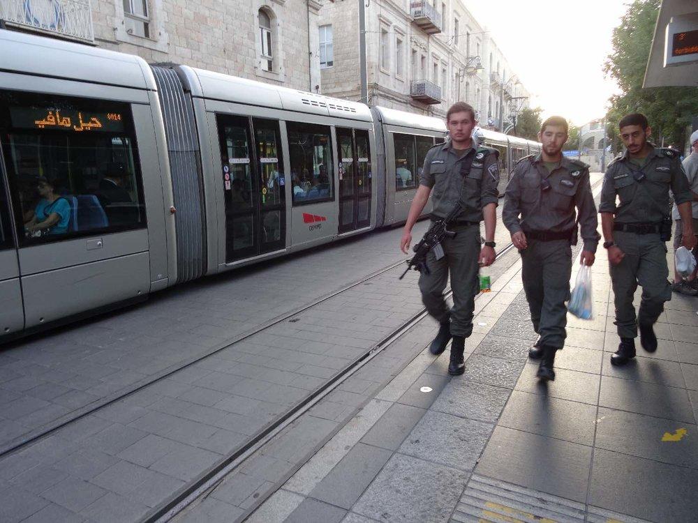 Jerusalem | Tranway and israeli army at Jaffa street | photo sandrine cohen