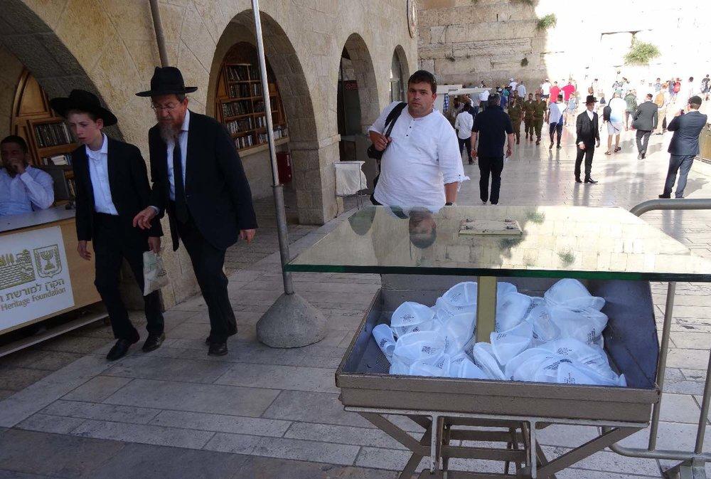 Jerusalem old city | men entrance wailing wall | Box for kippa | photo sandrine cohen