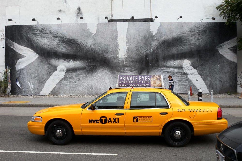 JR artist | New-York 2011 | Houston street | Yellow cab | street art | ©sandrine cohen