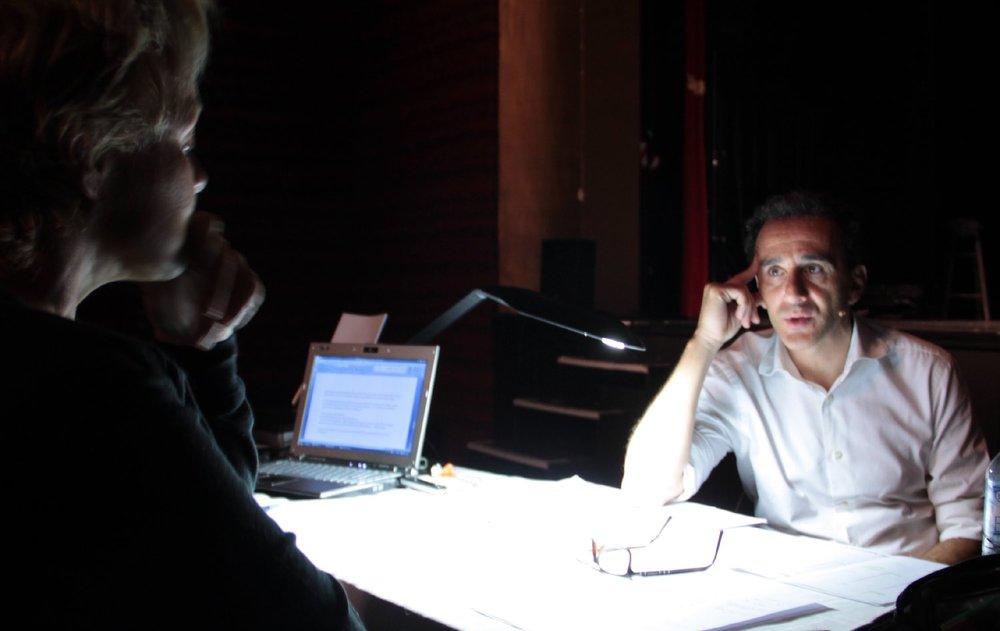 Elie Semoun |Muriel Robin |Répétition de son spectacle Tranches de vie | Mise en scène Muriel Robin | Enghien les bains 2011 | Photo sandrine cohen