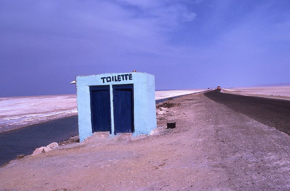 Blue toilets in middle salt desert | Tunisia | Chott el Jerid | photo sandrine cohen