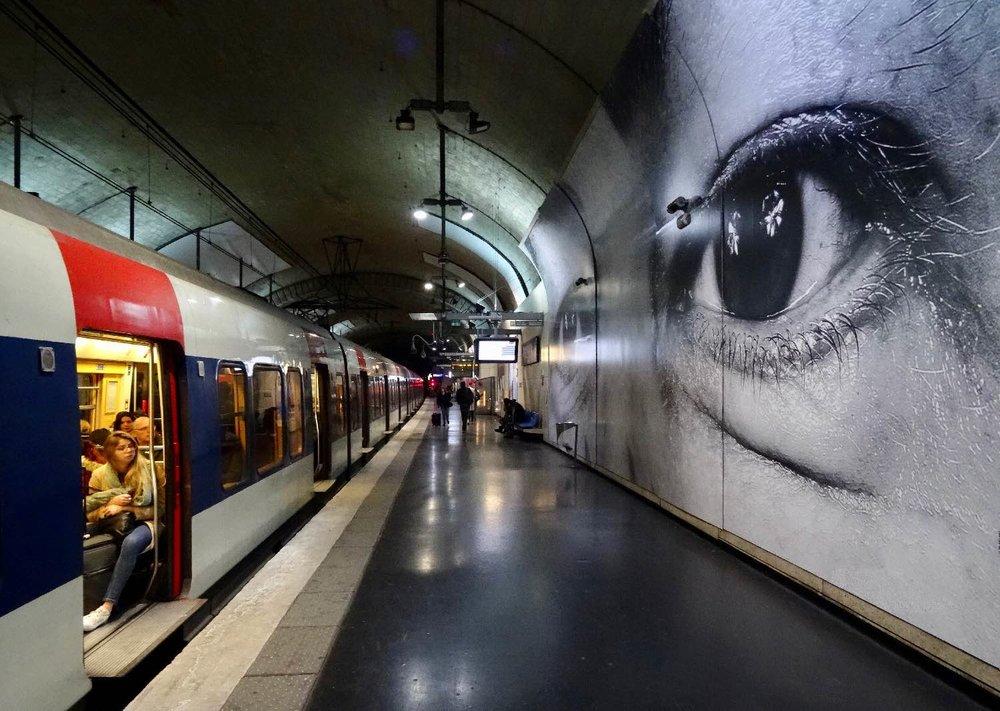 JR artist | RATP | la RATP invite JR |Metro Paris | RER Luxembourg | Photographic collage | ©sandrine cohen