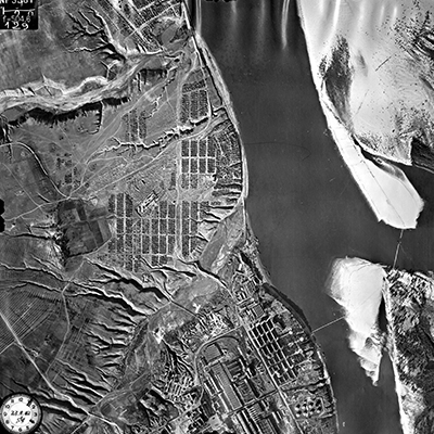 Aerial image of Stalingrad. Such images would be useful to establish a greater understanding of the physical geography on certain battle fields.  Source: Aerial Photographs, compiled 1935–1970; Records of the Defense Intelligence Agency, Record Group 393; National Archives at College Park, College Park, MD.