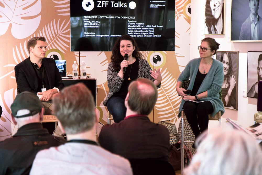 Franziska Sonder an einem Panel anlässlich des Zürich Film Festivals 2017 © Cinébulletin / MEDIA Desk Suisse
