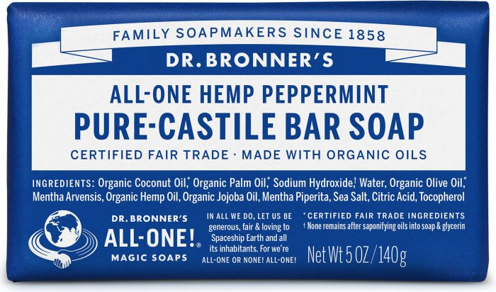 Dr Bronner Peppermint Bar Soap