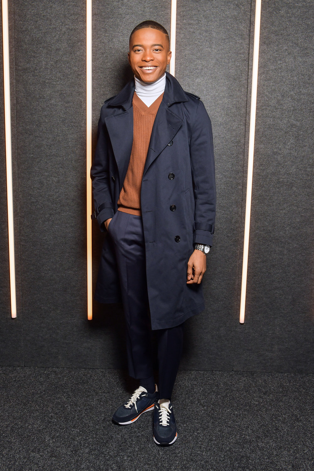 Igee Okafor backstage at the BOSS Fall/Winter 2019 show at Basketball City during New York Fashion Week on Wednesday, February 13, in New York City. Photography, Courtesy of BOSS.