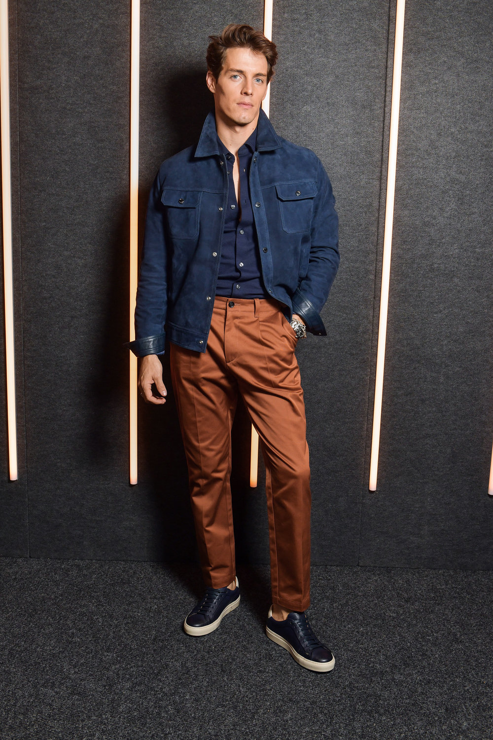 Marcos Fecchino backstage at the BOSS Fall/Winter 2019 show at Basketball City during New York Fashion Week on Wednesday, February 13, in New York City. Photography, Courtesy of BOSS.