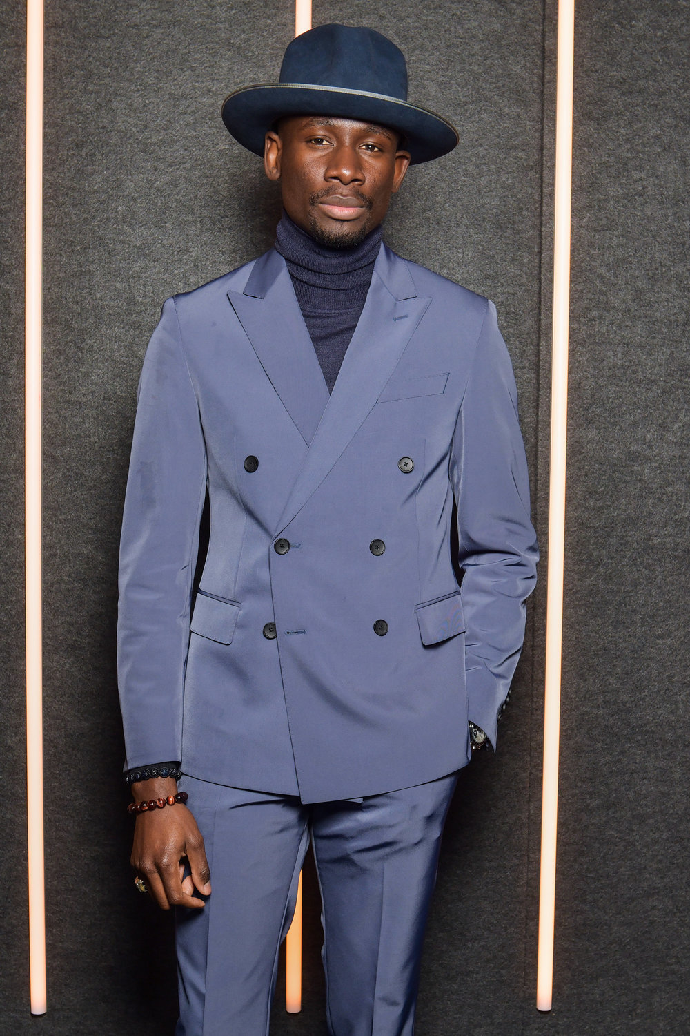 Salomon DuBois Thiombiano backstage at the BOSS Fall/Winter 2019 show at Basketball City during New York Fashion Week on Wednesday, February 13, in New York City. Photography, Courtesy of BOSS.
