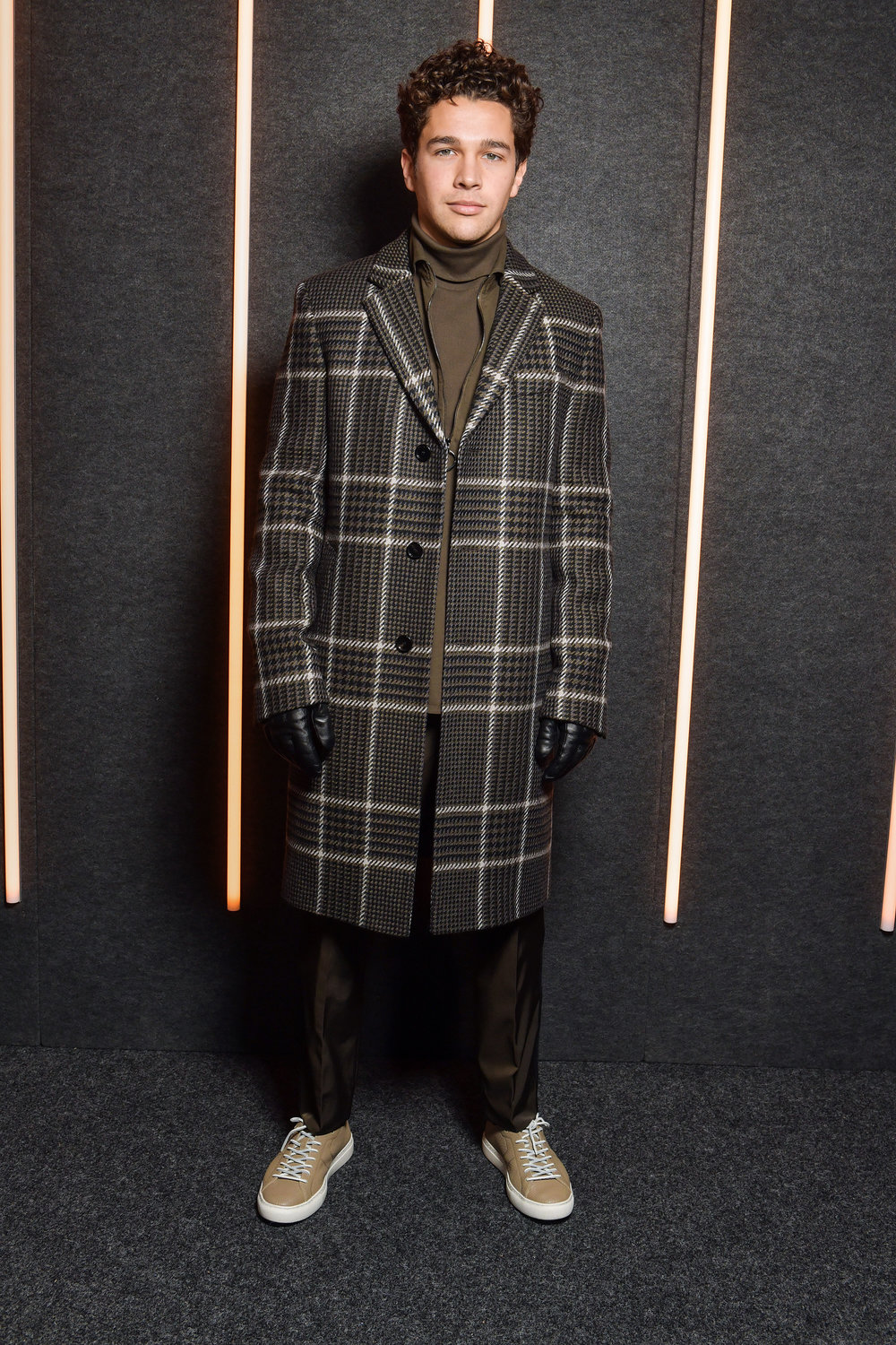 Austin Mahone backstage at the BOSS Fall/Winter 2019 show at Basketball City during New York Fashion Week on Wednesday, February 13, in New York City. Photography, Courtesy of BOSS.