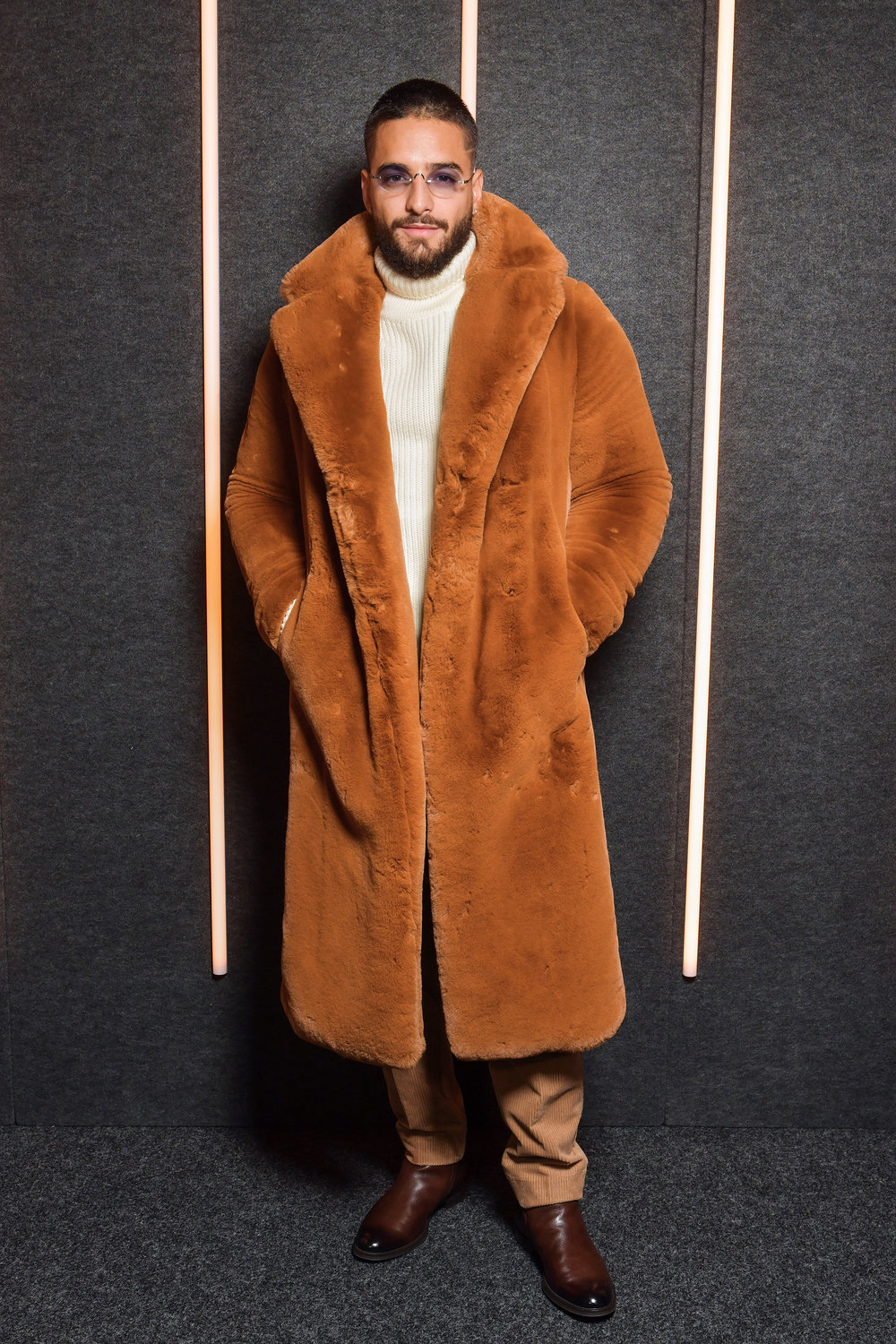 MALUMA backstage at the BOSS Fall/Winter 2019 show at Basketball City during New York Fashion Week on Wednesday, February 13, in New York City. Photography, Courtesy of BOSS.