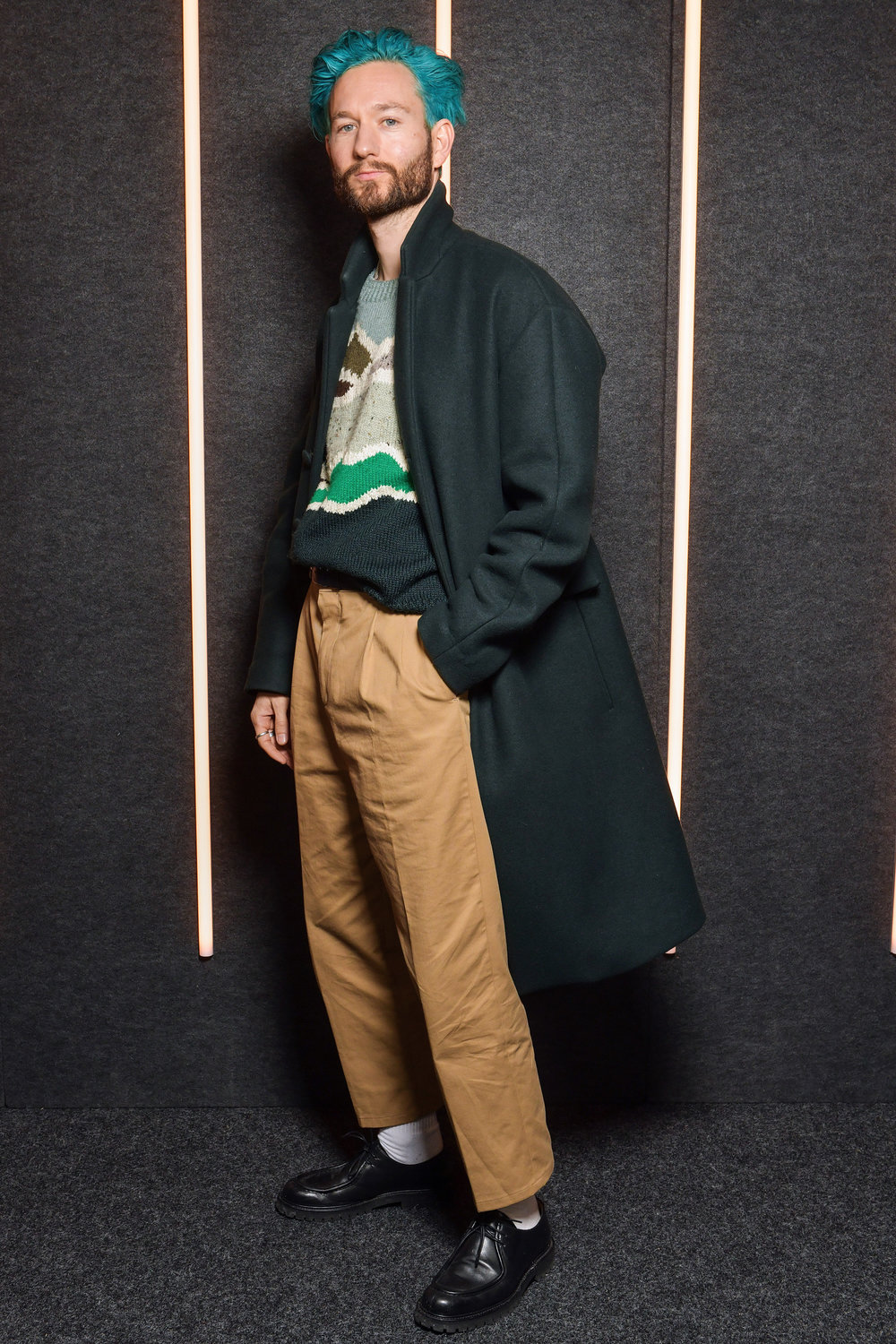 Isaac Hindin-Miller backstage at the BOSS Fall/Winter 2019 show at Basketball City during New York Fashion Week on Wednesday, February 13, in New York City. Photography, Courtesy of BOSS.