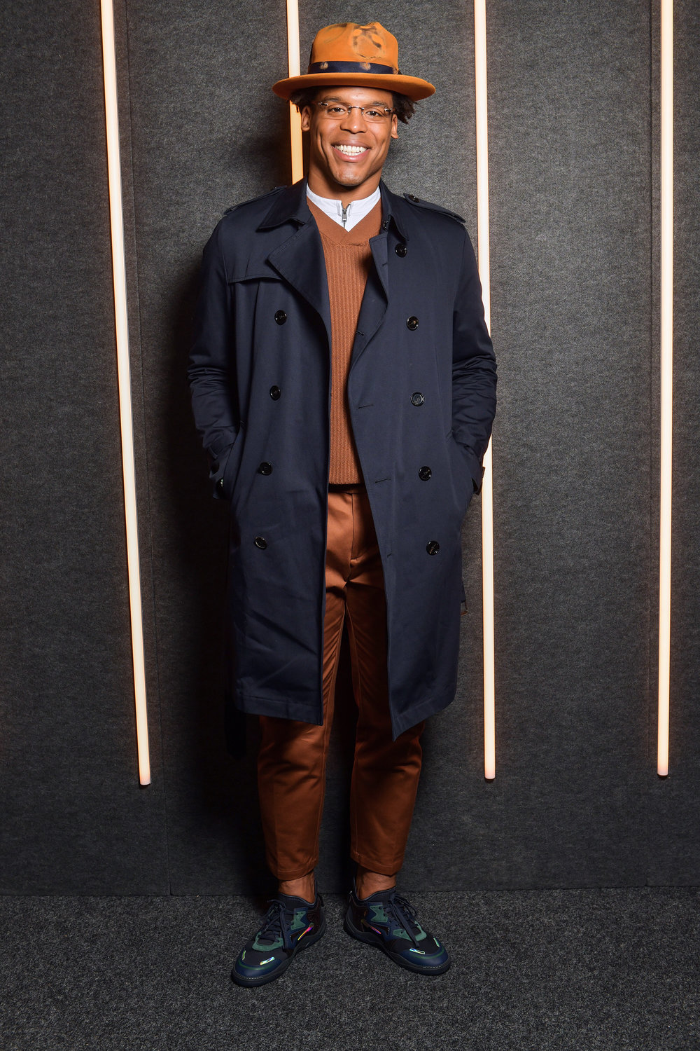 Cameron Newton backstage at the BOSS Fall/Winter 2019 show at Basketball City during New York Fashion Week on Wednesday, February 13, in New York City. Photography, Courtesy of BOSS.
