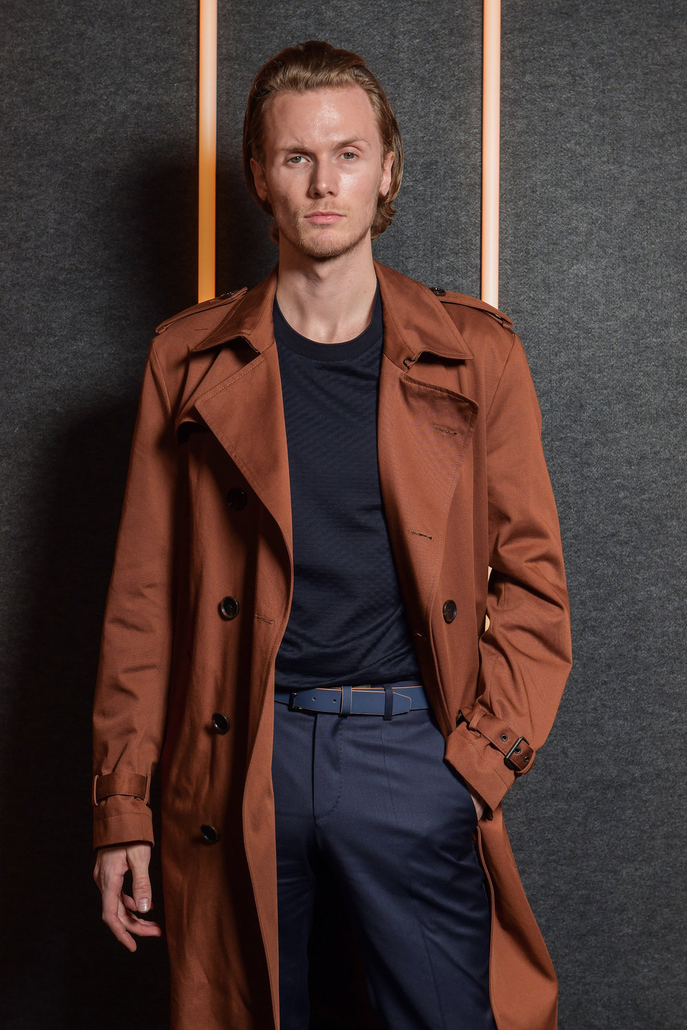 Conrad Hilton backstage at the BOSS Fall/Winter 2019 show at Basketball City during New York Fashion Week on Wednesday, February 13, in New York City. Photography, Courtesy of BOSS.