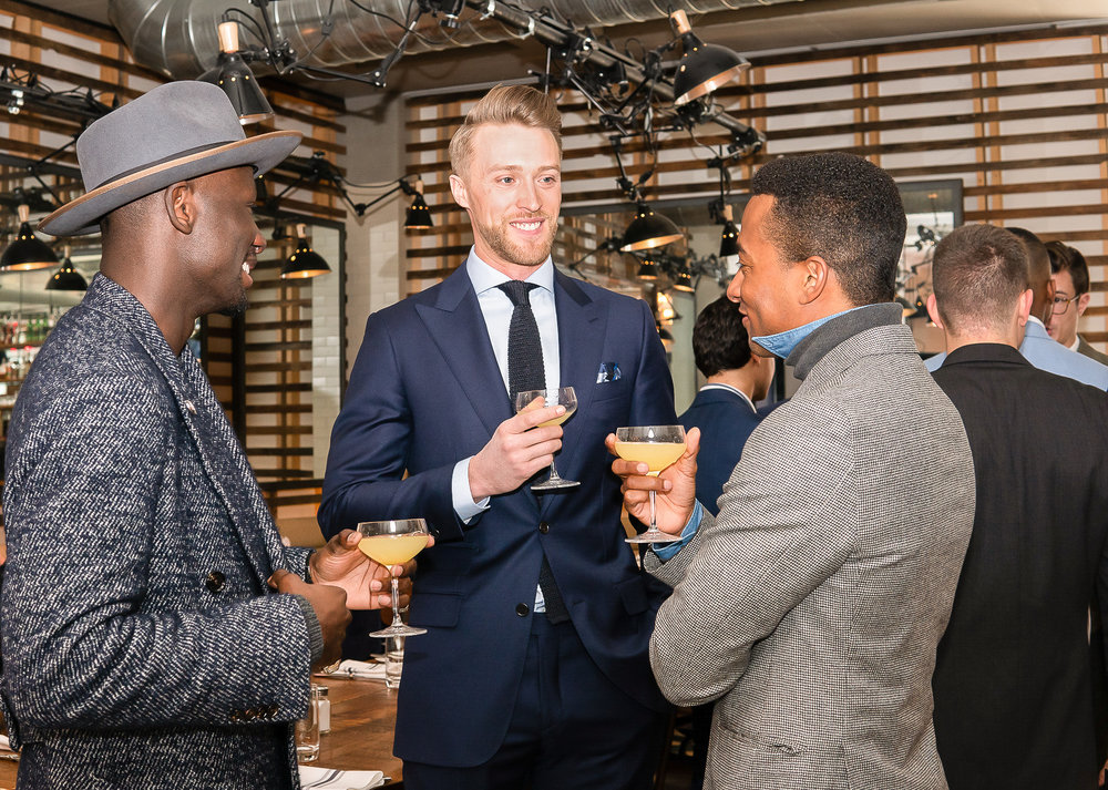 From Left To Right: Salomon DuBois Thiombiano, Ben Brewster, and Marcus Richardson attend the BOND OFFICIAL x InStitchu Brunch at Harold's on Saturday, March 23rd, 2019. Photography by, Inexora Media.
