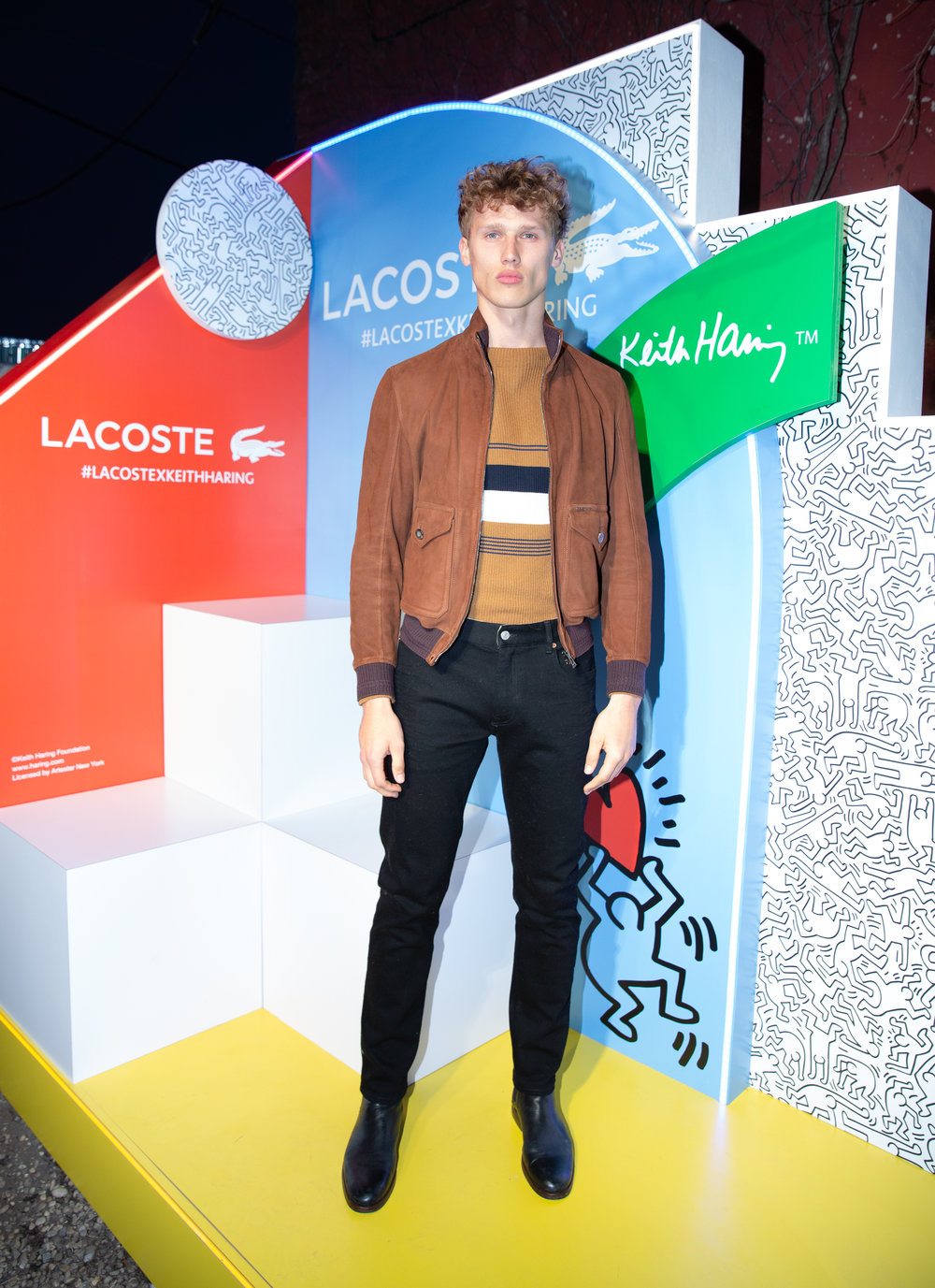 Bram Valbracht attends The Lacoste x Keith Haring Global Launch Party at Pioneer Works on Tuesday, March 26th, 2019. Photographed by Max Lakner/BFA.