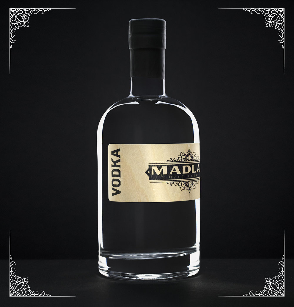 Mad Laboratory Vodka - Our first released product, our premium vodka is triple distilled through our direct-fire pot still, taking less and less each time, collecting only the best of the