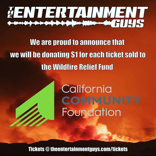 ✊Not only do we plan to provide a great experience for our customers, but we wish to help people in need! Due to the recent fires that took place across California, The Entertainment Guys promise to donate $1 for each ticket sold to go towards the Wildfire Relief Fund to aid people that were affected by the Southern California Fire! 🚨Get your tickets now on our website by clicking the link in our bio🚨👌 #concert #wildfirerelief #edmlifestyle #dtla #dtlanightlife #charity #charityevent #losangeles #socialresponsibility #plur #awesome