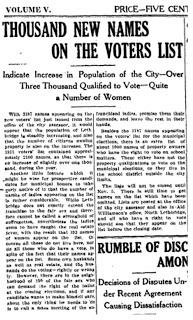 1 November 1912 Lethbridge Herald women on voting list