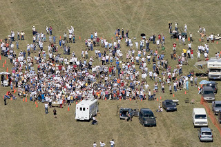 Aerial photo of Guiness World Record Attempt for the most people wearing Groucho Marx Glasses at one time (we were unsuccessful at setting the record) - 2005